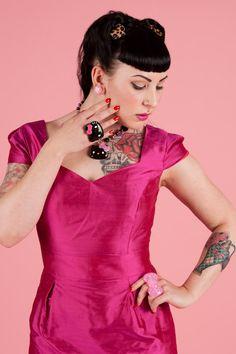 Rockabilly Mad Men pink silk wiggle dress by boobookittycouture, £100.00