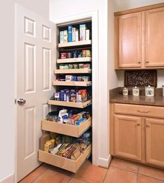 A closet...can be made more functional as a pantry by fitting pull-out shelving, as seen here on Shelf Genie.