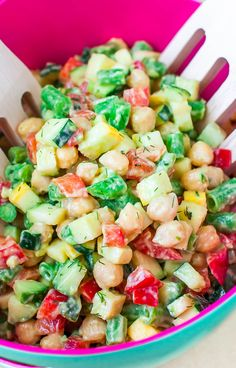 Clean out your crisper and make use of all the beautiful Spring & Summer produce with this Farmer's Market Chopped Salad with Creamy Avocado Dill Dressing!