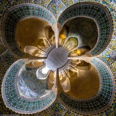 This 'little planet view' captures the intricate detailing on the ceiling of the Vakil Mosque, also in Shiraz