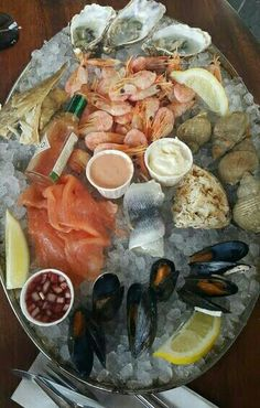 Seafood Platter at Whistable. Seafood Party, Oysters Rockefeller, Seafood Platter, Food Platters, Appetizer Dips, Fish Dishes, Lobsters, Crabs, Sea Food
