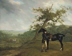 Jacques-Laurent Agasse, 1767-1849, George Irving with his Black Hunter Beneath a Blasted Oak, Hounds Being Put into a Covert Beyond, c. 1803.