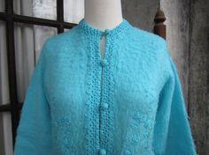 Fleece Turquoise Cardigan with Crocheted edges by heydarlin, $32.00