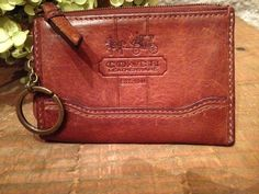 COACH Whiskey Leather Skinny ID Holder Tattersall Lining Coin Purse #Coach #CoinPurse
