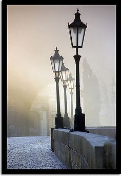 Good old Prague I hope for the day to see light posts like these in fog like this in person. Most Beautiful Cities, Beautiful World, Beautiful Images, Ville France, Lantern Lamp, Old Street, Street Lamp, City Lights, Street Lights