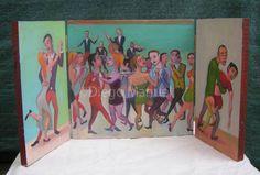 """""""Noche de tango"""" tríptico, acrílico sobre table de madera, 58 x 28 cm,2012. By Diego Manuel"""