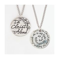 Simple round pendant. In Christ Alone Necklace - Christian Necklace for $8.49 | C28.com