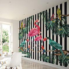 Island Life x Wallpaper Wall Mural Bold Wallpaper, Tropical Wallpaper, Striped Wallpaper, Wallpaper Online, Animal Wallpaper, Photo Wallpaper, Wallpaper Roll, Stripped Wall, Tropical Bedrooms