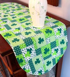 "Shamrock 36"" St Patricks Day Table Runner Reversible Clovers with green print on Etsy, $16.00"