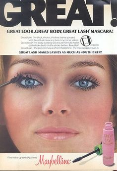 Print ad from the 1970s for #Maybelline Great Lash Mascara