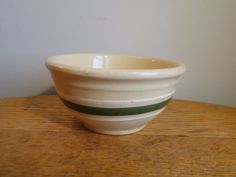 "Vintage Small #5 GREEN & WHITE Banded Watt Yellow Ware Stoneware 5"" Bowl…"