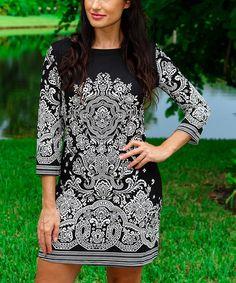 Black & White Arabesque Boatneck Dress #zulily #zulilyfinds