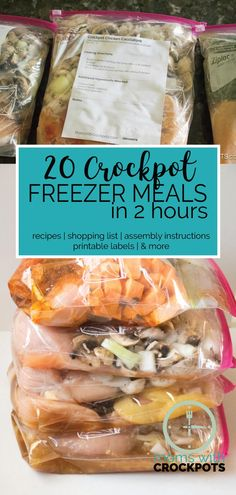 20 Crockpot Freezer Meals in 2 Hours! Includes recipes, shopping list, assembly instructions, printable bag labels, and more! Meals have atleast 6 servings and many are gluten free!