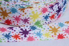 "Paint Splash 1"" Grosgrain Ribbon by the Yard for Hairbows, Scrapbooking, and More!!"