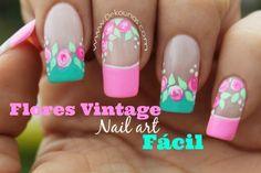Decoración de uñas Rosas vintage