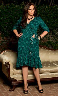 Fall is looking fierce with our plus size Flirty Flounce Wrap Dress!  www.kiyonna.com  #KiyonnaPlusYou  #MadeintheUSA  #Kiyonna  #Style