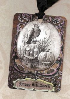 Spooky Style Halloween Tags Raven & Pumpkins by luvcrystals Halloween Labels, Halloween Scrapbook, Halloween Prints, Halloween Projects, Vintage Halloween, Fall Halloween, Halloween Raven, Vintage Witch, Vintage Tags