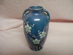 Lusterware Blue Vase Shiny Luster Dogwood Blossoms on Jug like Vase Vintage Japan 1950s on Etsy, $12.50