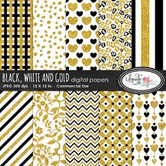 Glitter digital paper, black and gold digital paper, foil digital paper, scrapbook papers for photography and scrapbooking, P 276 Digital Scrapbook Paper, Digital Papers, Commercial Wallpaper, Heart Patterns, Floral Patterns, Craft Tutorials, Craft Sites, Create Website, Printable Paper