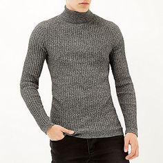 Dark grey ribbed roll neck sweater - sweaters - sweaters / cardigans - men