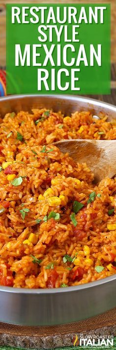 Restaurant-Style Mexican Rice is a simple recipe that is exploding with flavor! With a rich tomato base and just the right amount of jalapeños, tomatoes and corn it's the best Mexican Rice ever!