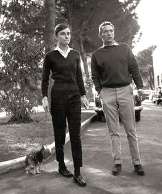 Audrey Hepburn in the gardens at Cinecittà film studios in 1958, with actor Peter Finch, her co-star in The Nun's Story.