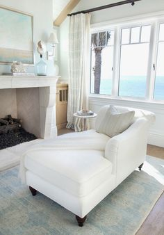 House of Turquoise: Bliss Home and Design           Really beautiful, but why face the chaise away from that heavenly view?