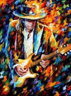 "Stevie Ray Vaughan — PALETTE KNIFE Modern Impressionist Portrait Oil Painting On Canvas By Leonid Afremov - Size: 30"" x 36"" (75 cm x 90 cm)"