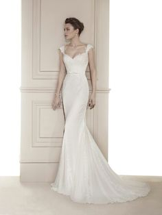 Beautiful lace and chiffon gown by Fara Sposa (5633) with scooped neckline and low back has just arrived at Timeless Bride