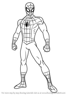 Learn how to draw ultimate spider-man (ultimate spider-man) step by step : drawing tutorials Avengers Coloring Pages, Superhero Coloring Pages, Spiderman Coloring, Cartoon Coloring Pages, Disney Coloring Pages, Spiderman Sketches, Spiderman Kunst, Spiderman Drawing, Marvel Drawings