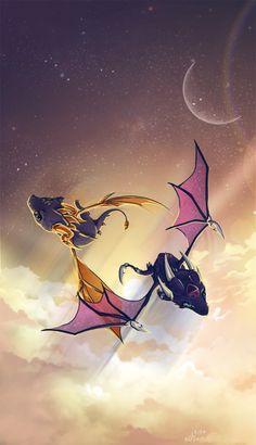 Spyro and Cynder flying together <3 // Tag Team