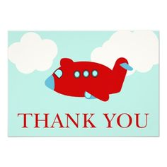Airplane Thank You note card Custom Invitation