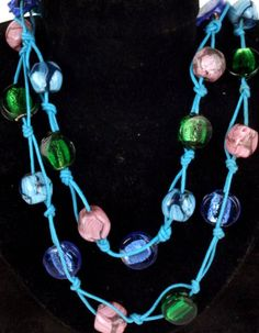 Tri-Color Glass Beads Necklace