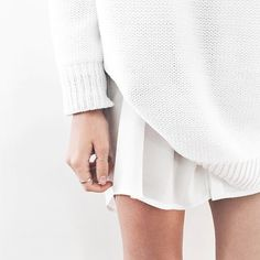 white on white + dainty silver jewelry