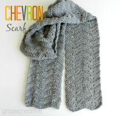 Grey Crochet Chevron Scarf