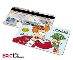 Shopaholic Platinum Credit Card - Personalized w/Futurama Theme