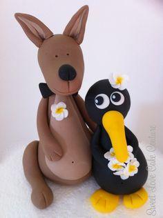 Mr Kangaroo and Mrs Kiwi (inspired by Bella Cupcakes) - Sweet Love Cake Couture Pretty Cakes, Beautiful Cakes, Amazing Cakes, Fondant Toppers, Fondant Cakes, Welsh Wedding Cakes, Cupcakes, Cupcake Cakes, Australia Cake