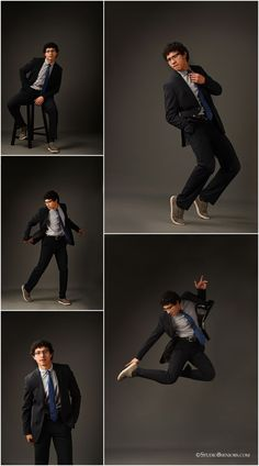 Posing Guide: 21 Sample PosePhotographic Ideas Sue Bryce - Senior boys Crazy cool senior boy in suit and tie dancing and leaping during senior pictures photographed by Brooke Clark for Studio B Portraits