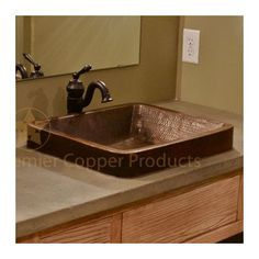 Features:  -Vessel sink.  -Composition: 99.7% Pure recycled copper.  -Configuration: Rectangle.  -Handmade.  -17 Gauge.  -Patina: Fired.  Installation Type: -Vessel sink.  Style (Old): -Rustic.  Sink