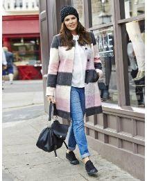 Ava Collarless Check Coat