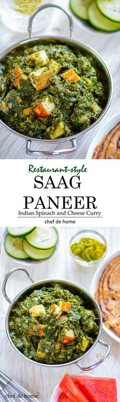 Indian Restaurant Style Palak Saag Paneer - spianch cooked with spicies and cream, with fried Indian Paneer for an easy Indian dinner at home.