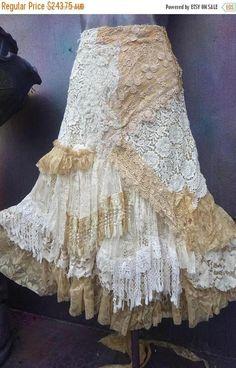 wedding skirt,tattered skirt, stevie nicks, bohemian skirt, boho skirt, gypsy skirt, lagenlook skirt,OAK, shabby wrap skirt.. she,s an absolutely gorgeous bohemian wrap around shabby skirt in beige and ivory hues kissed with assorted laces,bridal laces,netting,rose trims,crochet,butterflies #WrapSkirts