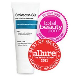 StriVectin Instant Retexturizing Scrub is Allure's 2011 Best of Beauty Awards Winner & Total Beauty 2011 Awards Winner! This exfoliator clears away dead skin cells leaving skin soft and smooth.