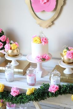 Inspiration for a Princess Tea Party Birthday from princess party decor to a royal food menu and princess cake painting! Cake Table Birthday, Tea Party Birthday, Birthday Cake Girls, Fourth Birthday, Girls Tea Party, Princess Tea Party, Disney Princess, Princess Party Decorations, Party Themes