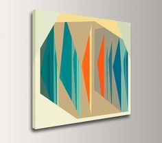 "Mid Century Modern Canvas - Teal Orange - Geometric Decor- 24x24Canvas  - Abstract Art - ""Multiplex"". $140.00, via Etsy."