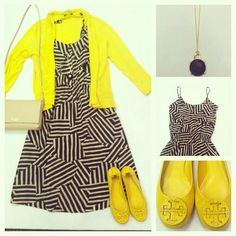 Nally and Millie, Buttercup Cardigan,   Covet, Tank Ruffle Dress in Black Tribal,   Kate Spade Handbag, Kristie,   Monkee's Necklace,   Tory Burch, Reva Patent in yellow