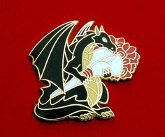 Love Dragons? Well dragons love you too! And they brought you roses. #jewelry #lapelpin #etsy #pin #valentinesday #enamelpin #hardenamelpin #dragon #dragons #roses #flowers #nerdgift