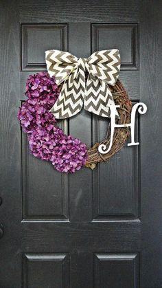 Year Round Purple Hydrangea and Chevron Burlap Wreath, With Curly White Monogram Initial, Fall Burlap Wreath, Wreath With Monogram