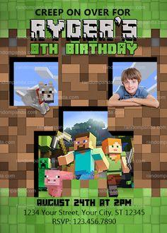Minecraft Invitation, Minecraft Party, Mine Theme Invite Minecraft Party Invitations, Birthday Cards, Birthday Parties, Birthday Ideas, Funny Cards, Party Time, Boy Or Girl, Invite, Digital
