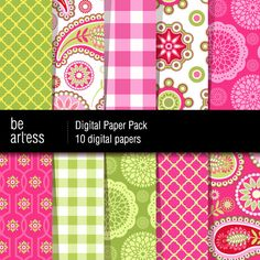 Digital Paper Pack  10 Dora's paisley papers / 12x12 by beartless, $2.99